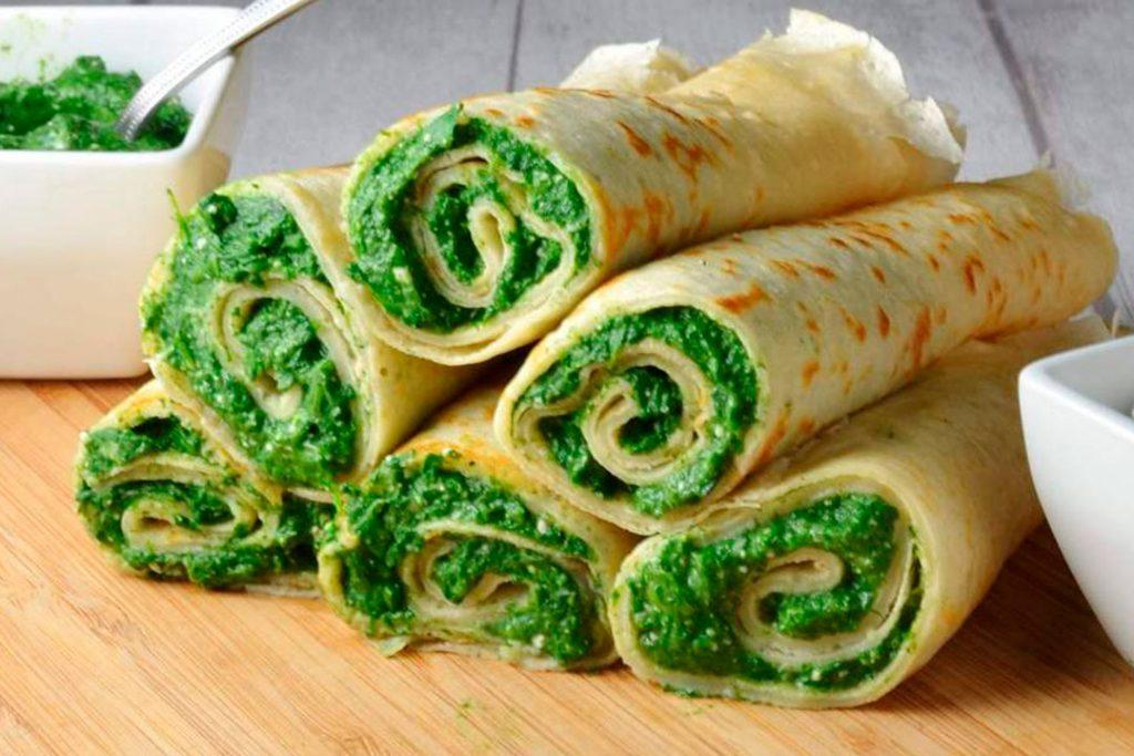 crepes vegetarianos de espinacas y queso