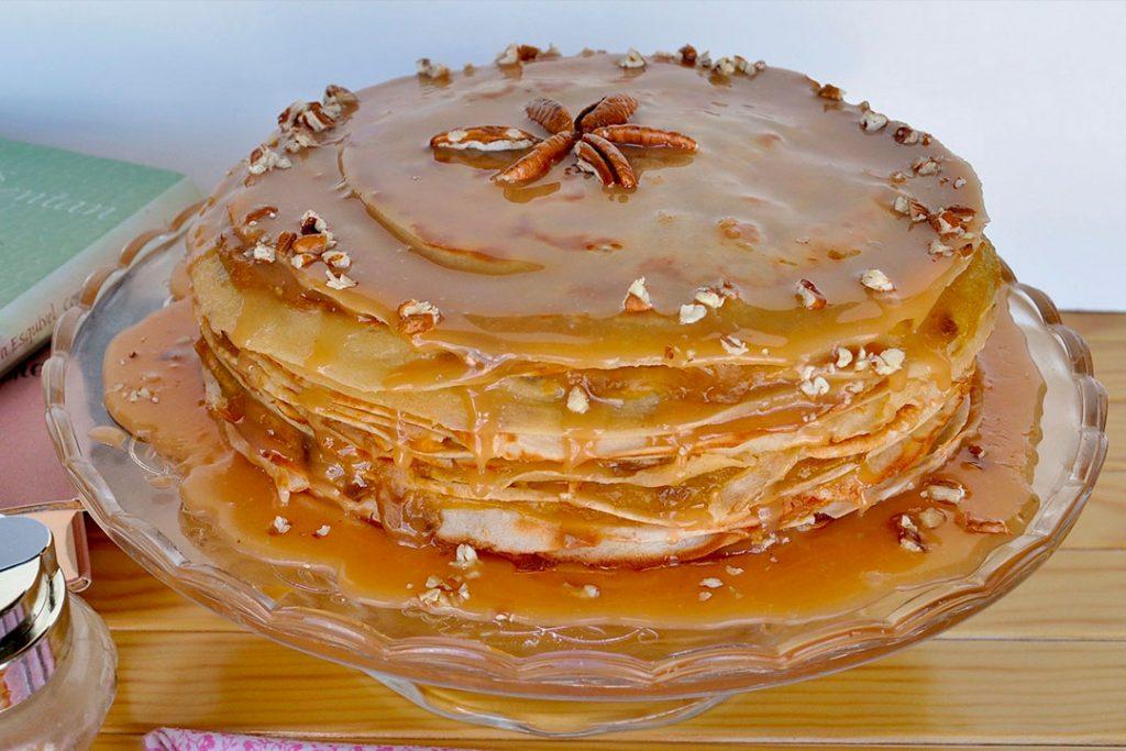tarta de crepes con dulce de leche